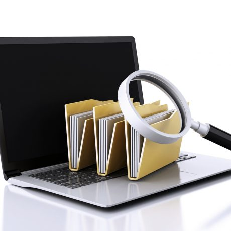 image of 3d renderer illustration. laptop, magnifying glass and computer files